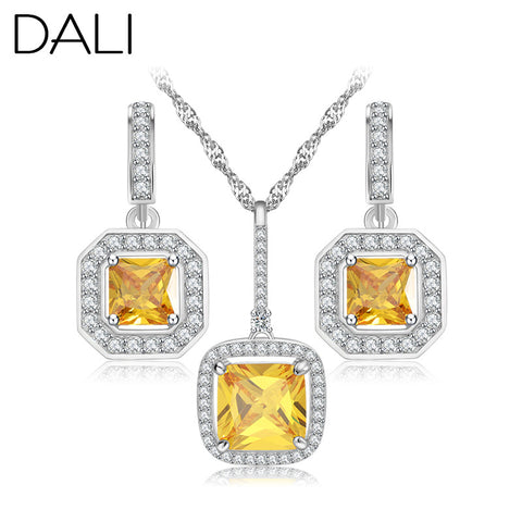 DALI Elegant Luxury Design Wedding Jewelry New Fashion White Gold Plated Yellow Austrian Zircon Jewelry Sets Women Gift DAS018