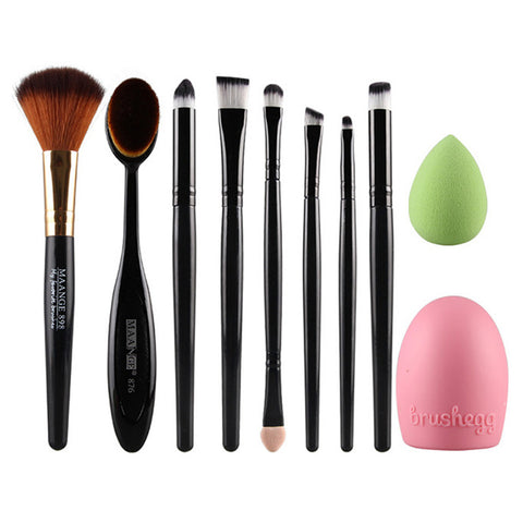 10Pcs/Set Fashion Women Ladies Pro Puff Oval Toothbrush Shape Cosmetic Makeup Brushes Set Face Eyeshadow Brushegg Blush Tools