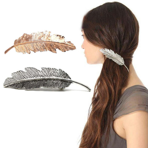 1 PC Women Lady Girl Fashion Metal Leaf Shape Hair Clip Crystal Pearl Hairpin Barrette Hair Accessories