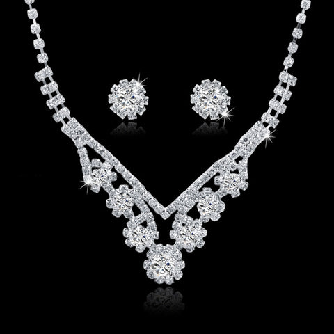 Bijoux Femme Rhinestone Wedding Jewelry Sets Bridal Women Long Tassel Necklace Earrings Jewellery Set Accessories SET150067