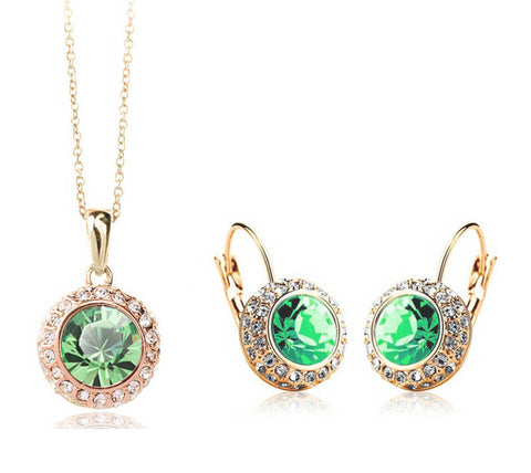 2014 Hot Sale Fashion White Gold Plated Crystal Pendants Necklace/Earrings Wedding Accessories Jewelry Sets For Women