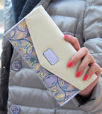 2016 Hot Sale Envelope Women Wallet Hit Color 3Fold Flowers Printing 5Colors PU Leather Wallet  Long Ladies Clutch Coin Purse