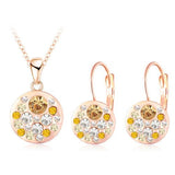 Hot 2016 New Austrian Crystal Jewelry Set for Women 18K Rose Gold Plated Round Style Pendant/Earrings Sets parure bijoux femme