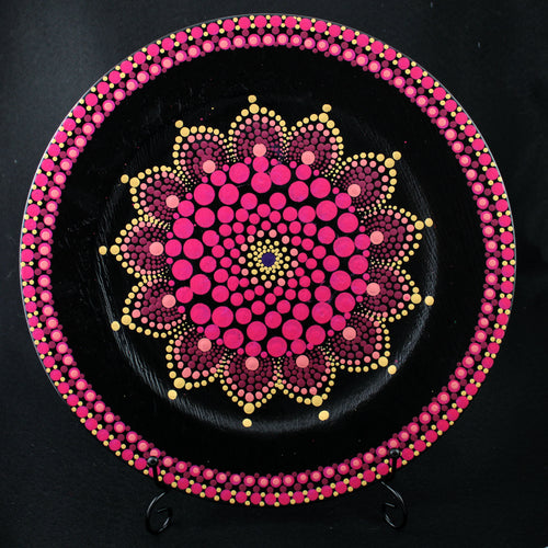 Dot Decorated Platter Magenta