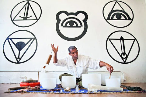 "Dominic Moore conducting a ""sound bath"" at the House of Intuition in Los Angeles.  Credit -Emily Berl for The New York Times"