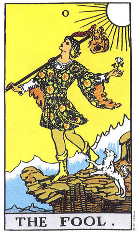 The Fool tarot card represents beginnings, innocence and novelty