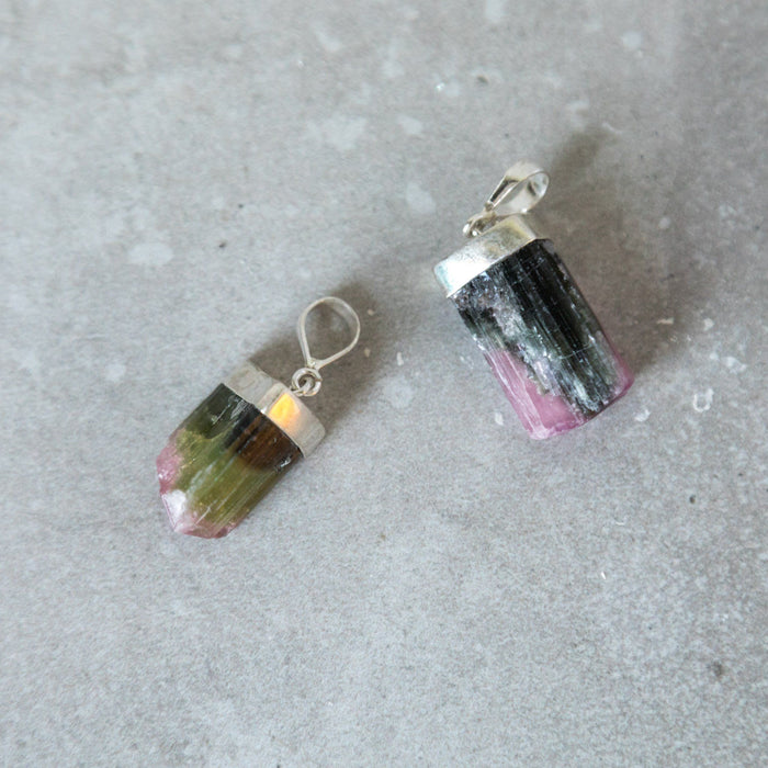 Watermelon Tourmaline Crystal Pendant
