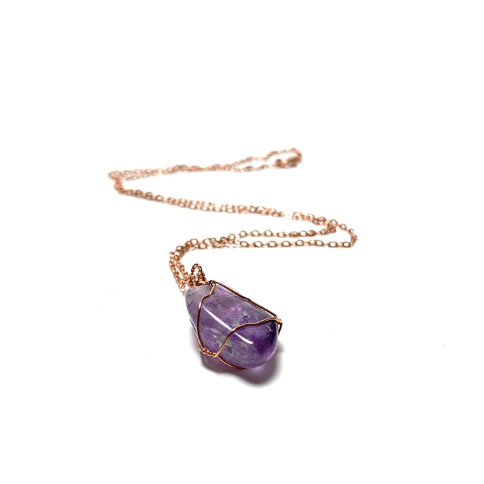 Amethyst Copper Wire Wrapped Necklace - House of Intuition