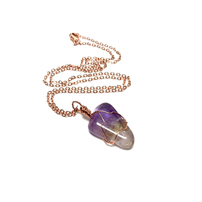Ametrine Copper Wire Wrapped Necklace - House of Intuition