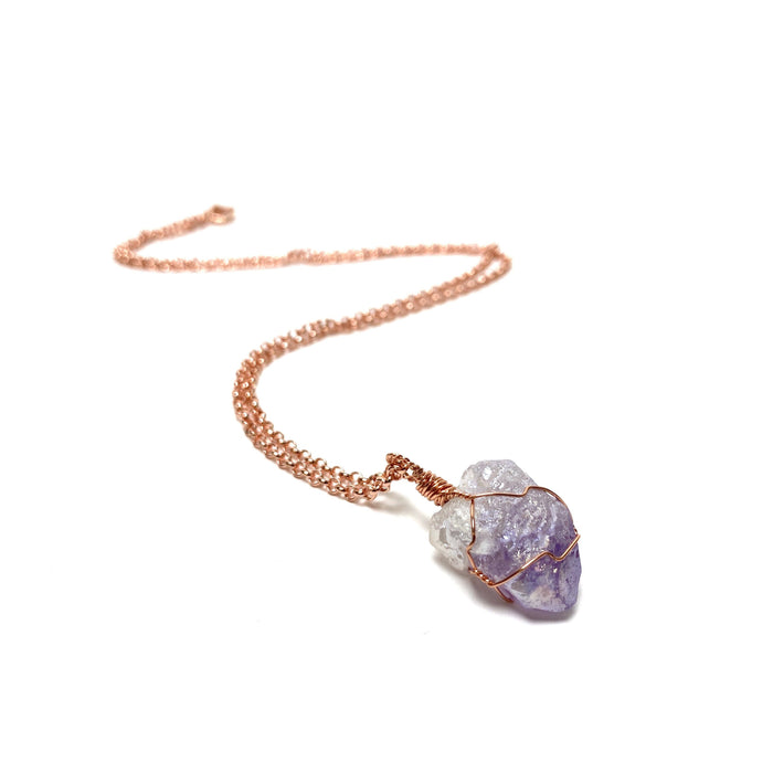 Angel Aura Amethyst Copper Wire Wrapped Necklace