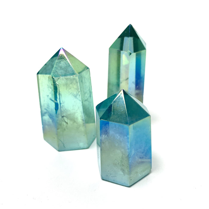 Aqua Aura Quartz Tower Point