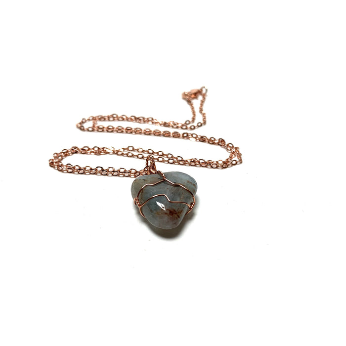Aquamarine Copper Wire Wrapped Necklace - House of Intuition