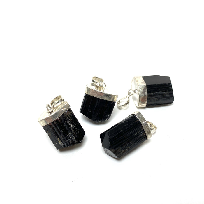 Black Raw Tourmaline Crystal Pendant
