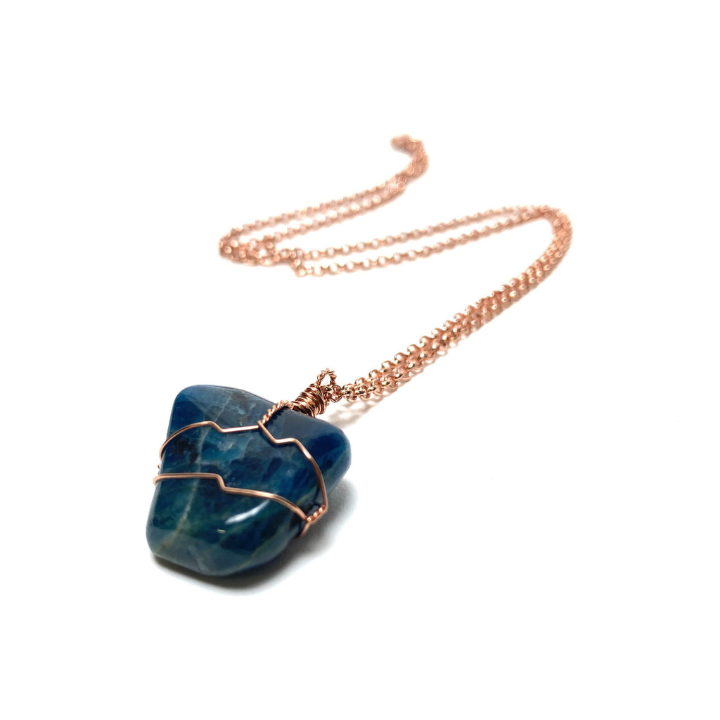 Blue Apatite and Copper Wire Wrapped Necklace