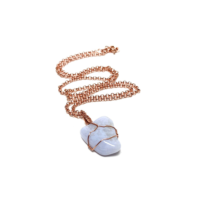Blue Lace Agate Copper Wire Wrapped Necklace - House of Intuition