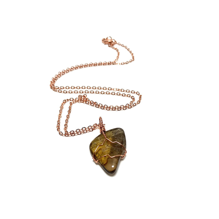 Citrine Tumble Copper Wire Wrapped Necklace - House of Intuition