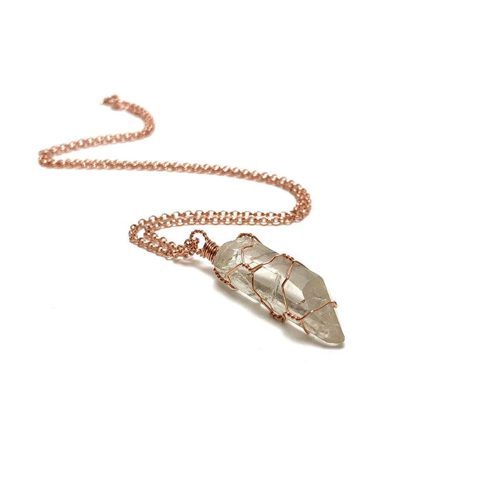 Clear Quartz Point Copper Wire Wrapped Necklace