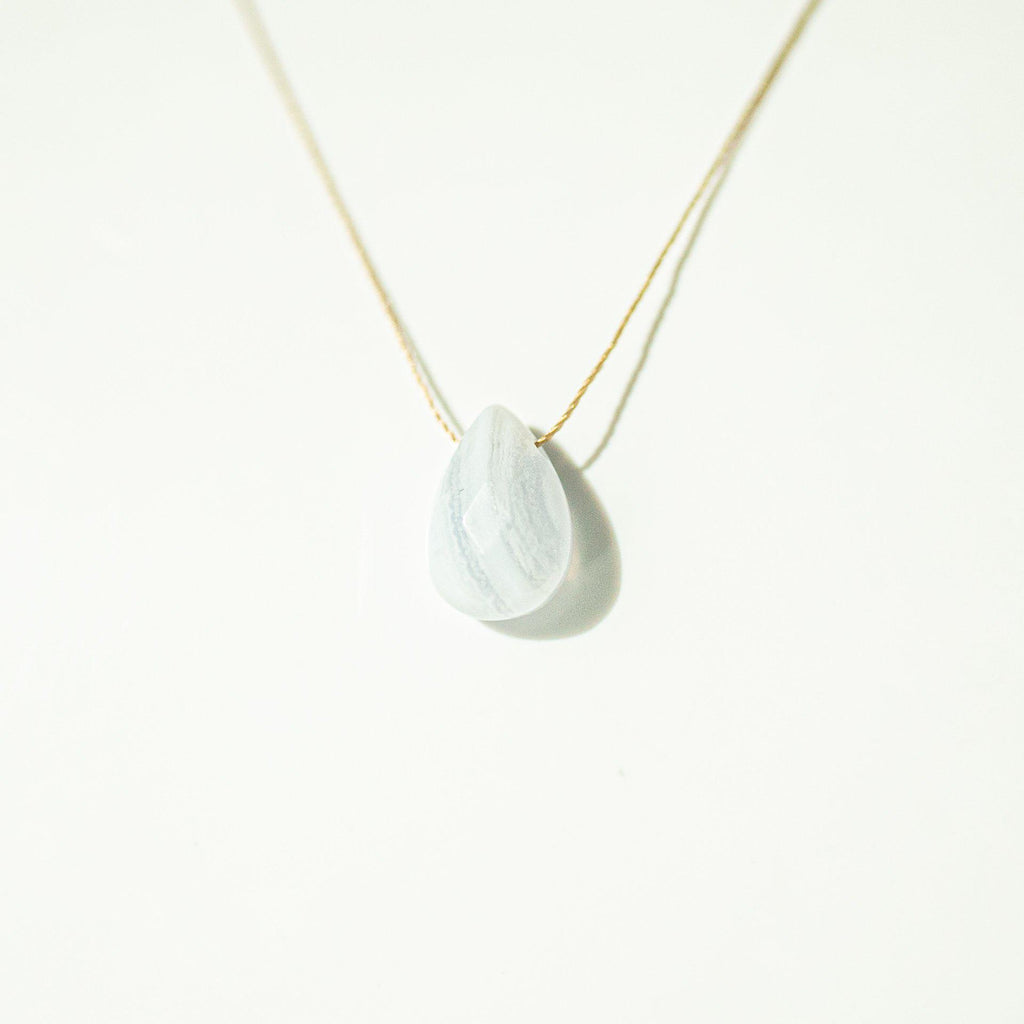 Blue Lace Agate Teardrop Necklace (I AM TRUTH) - House of Intuition