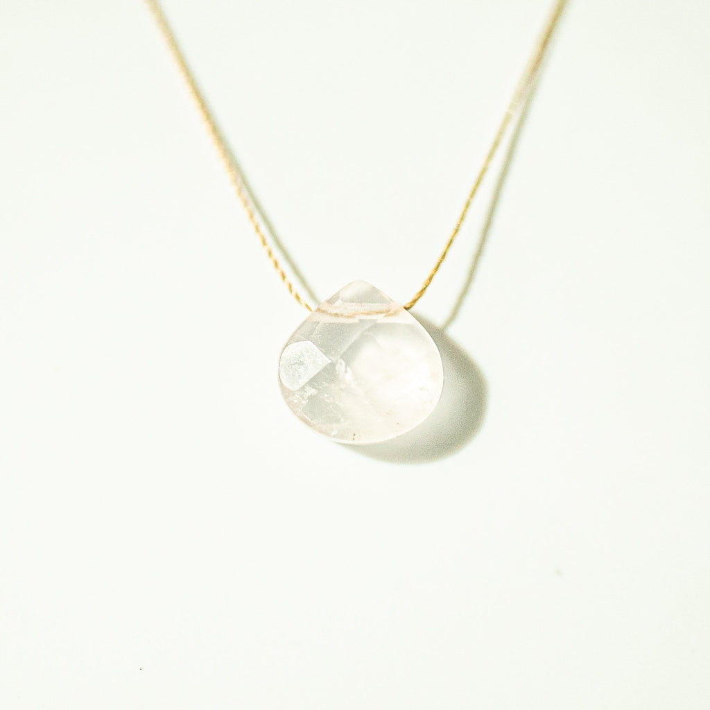 Rose Quartz Teardrop Necklace (I AM LOVED) - House of Intuition
