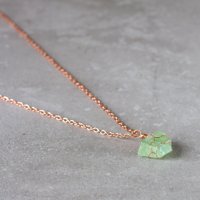 Green Calcite and Copper Wire Wrapped Necklace