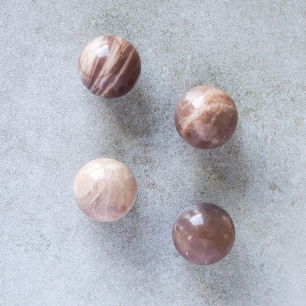 Peach Moonstone Spheres - House of Intuition