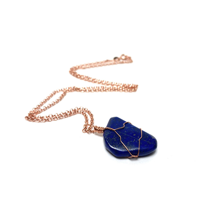 Lapis Lazuli Copper Wire Wrapped Necklace