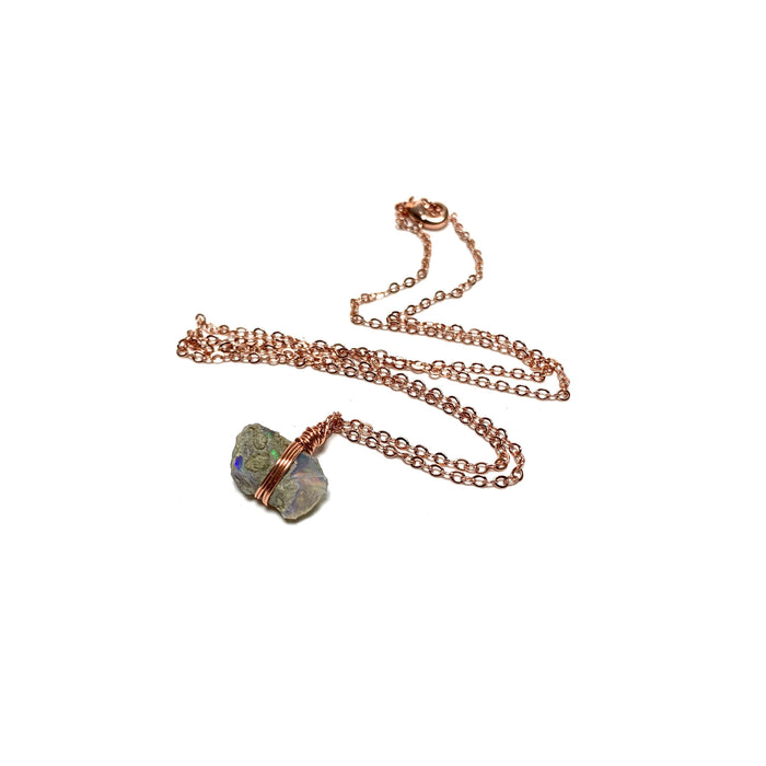 Mexican Opal Copper Wire Wrapped Necklace - House of Intuition