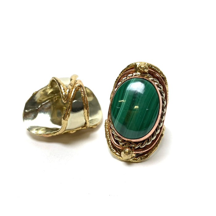 Malachite Adjustable Brass Ring - House of Intuition