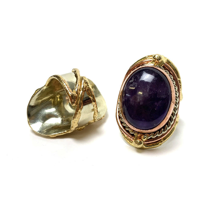 Amethyst Adjustable Brass Ring - House of Intuition