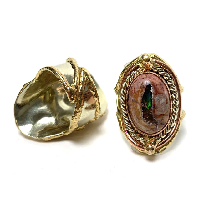 Opal from Mexico Adjustable Brass Ring - House of Intuition