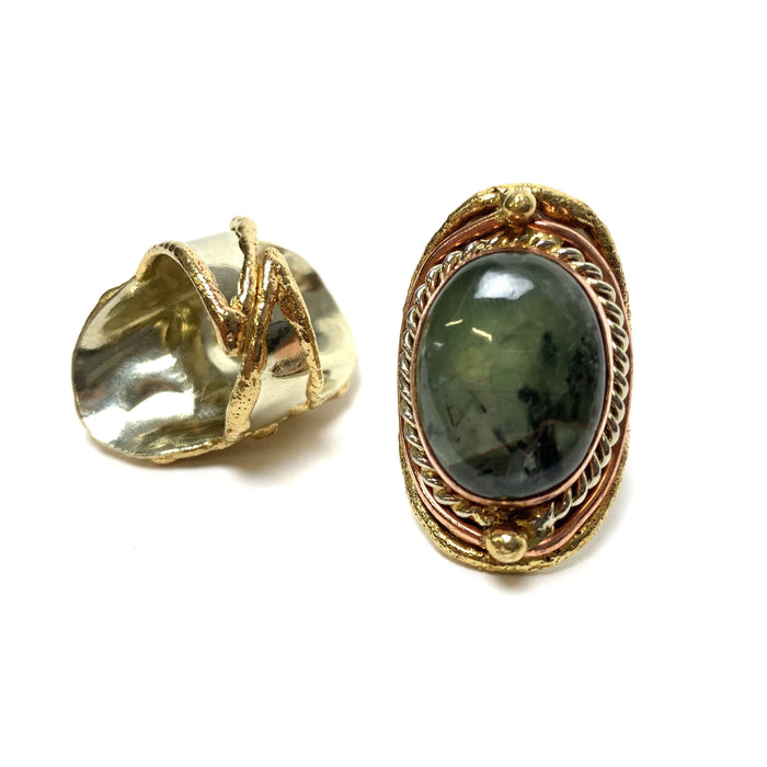 Prehnite Adjustable Brass Ring - House of Intuition