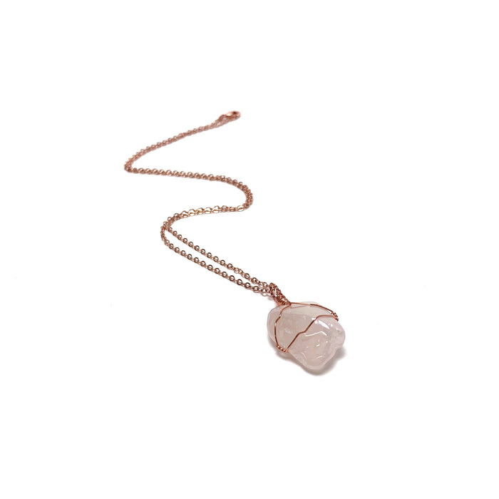 Rose Quartz Copper Wire Wrapped Necklace - House of Intuition