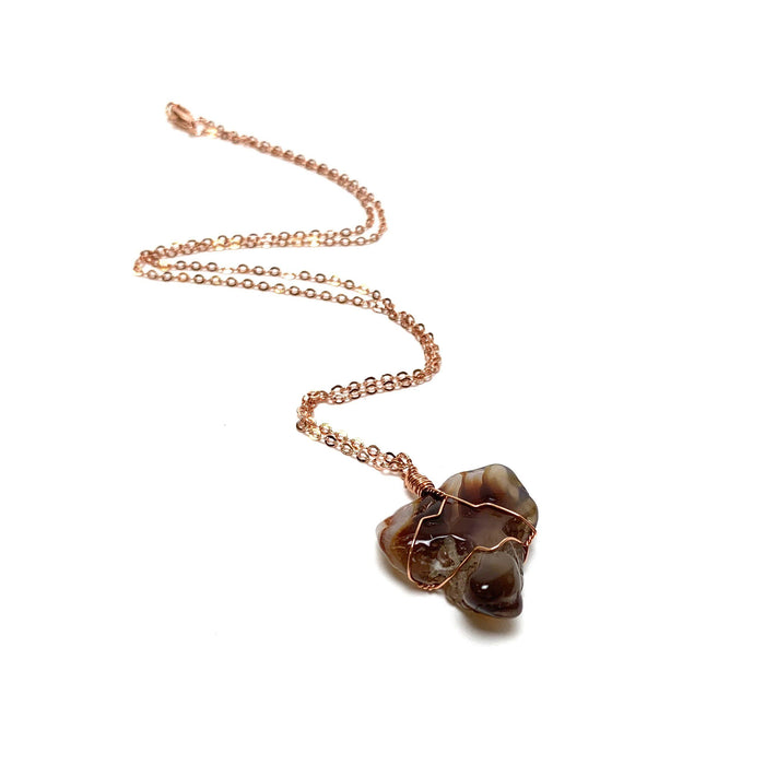 Fire Agate Wire Wrapped Necklace - House of Intuition