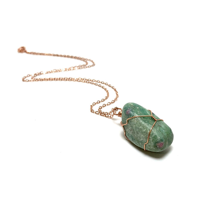 Ruby in Fuschite Wire Wrapped Necklace - House of Intuition