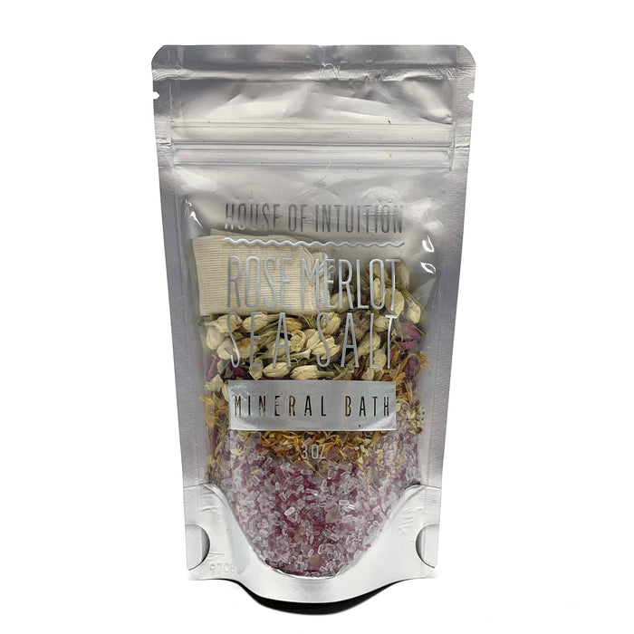 Rose Merlot Sea Salt Bath Bag with Flowers & Herbs (limited edition) - House of Intuition