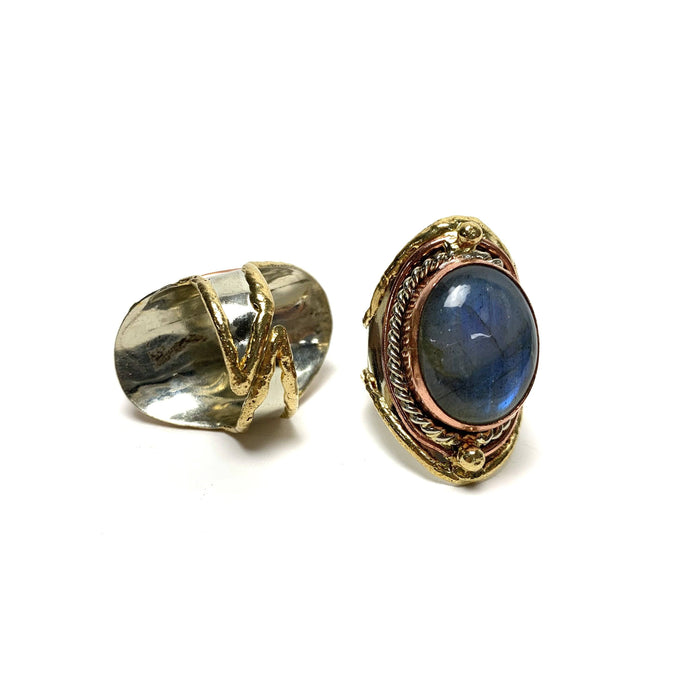 Labradorite Adjustable Brass Ring - House of Intuition