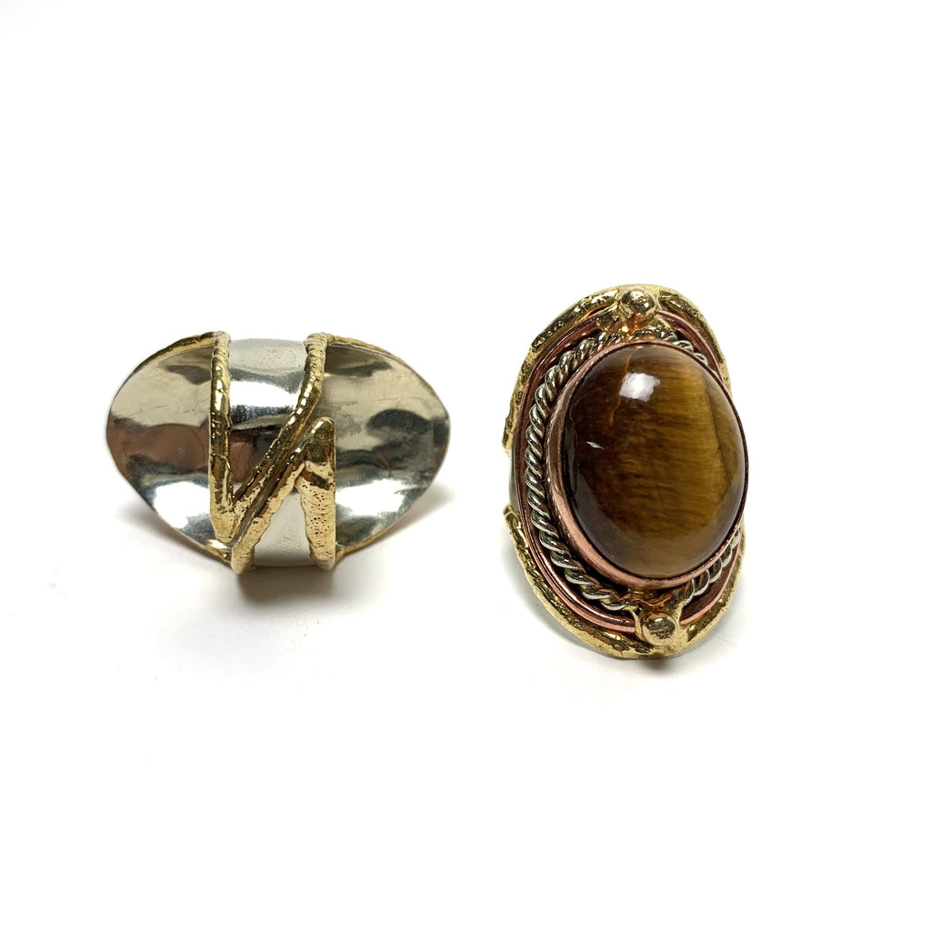 Tiger's Eye Adjustable Brass Ring - House of Intuition