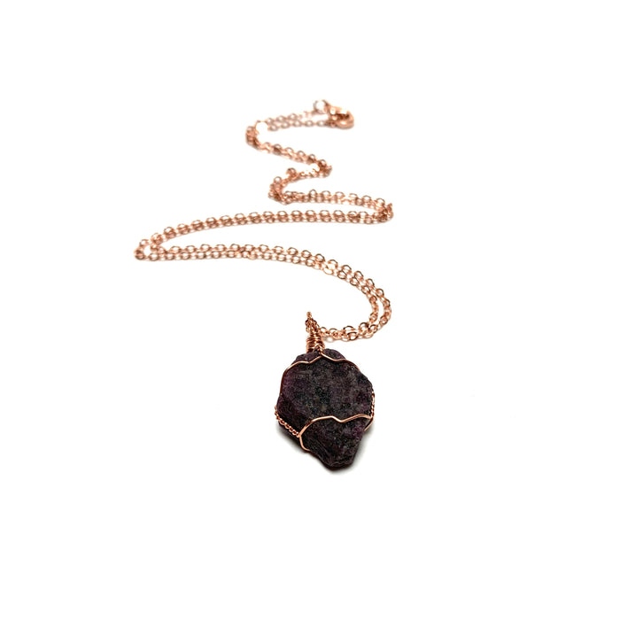 Ruby (Raw) Copper Wire Wrapped Necklace - House of Intuition