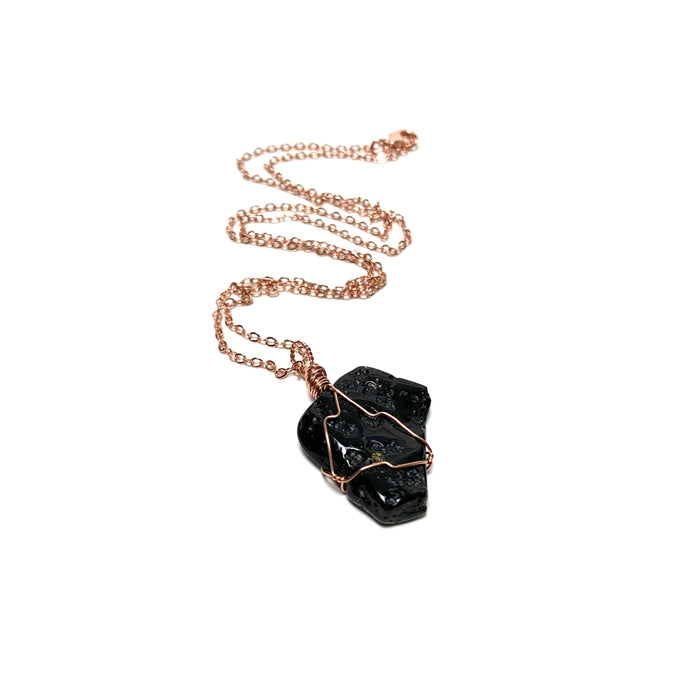 Tektite Copper Wire Wrapped Necklace - House of Intuition