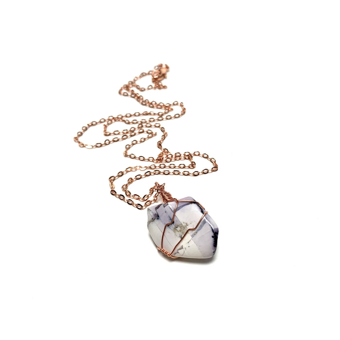 Tiffany Stone Copper Wire Wrapped Necklace - House of Intuition