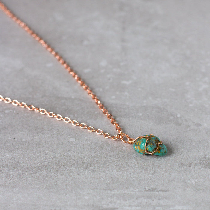 Turquoise and Copper Wire Wrapped Necklace
