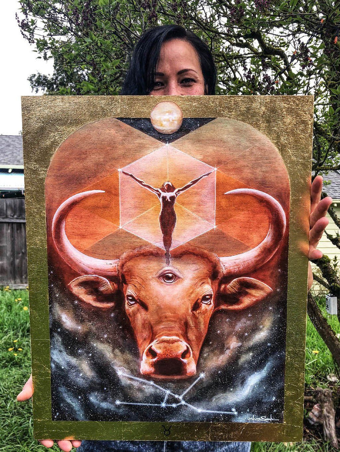 Taurus Zodiac Original Painting and Print by Tashina Suzuki