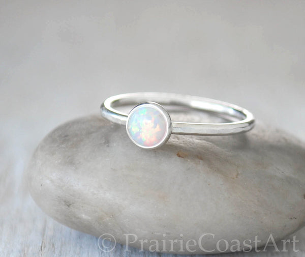 Opal Stacking Ring in Sterling Silver - Handcrafted - Prairie Coast Art