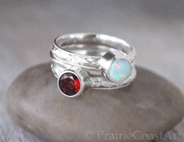 Two Birthstone Ring Stack Set plus Hammered Band - Choose Birthstones