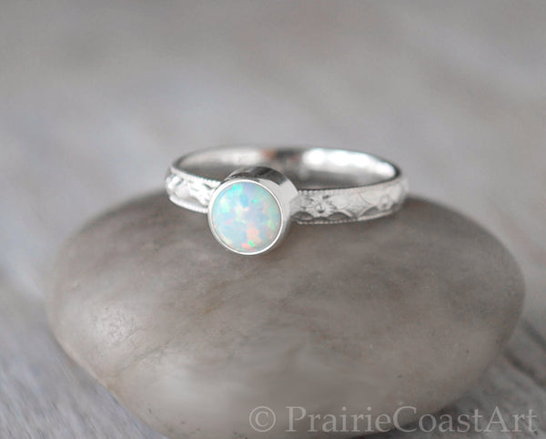 Sterling Silver Opal stacking Ring  - Handcrafted - Prairie Coast Art