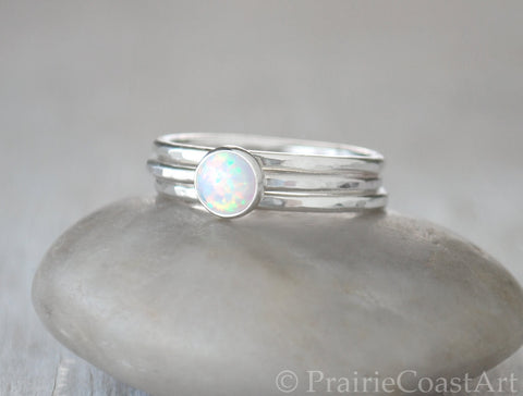 Opal Stacking Ring Set - Handcrafted - Prairie Coast Art