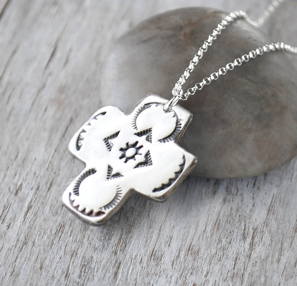 Southwest Silver Cross Necklace -  Hand stamped Southwest style - Prairie Coast Art