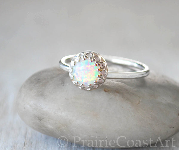 Sterling Silver Opal Stack Ring - Handcrafted - Prairie Coast Art