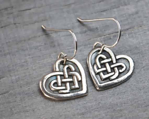 Celtic Knot Heart Earrings - Sterling Silver Ear Wires - Handcrafted - Prairie Coast Art
