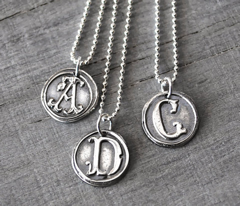 Personalized Silver Wax Seal Initial Necklace - with Sterling Silver Chain - Prairie Coast Art